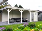 Tuinhuis-Blokhut Tapuit 300 x 300cm + Luifel 400cm